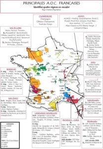carte des principales AOC viticoles de France