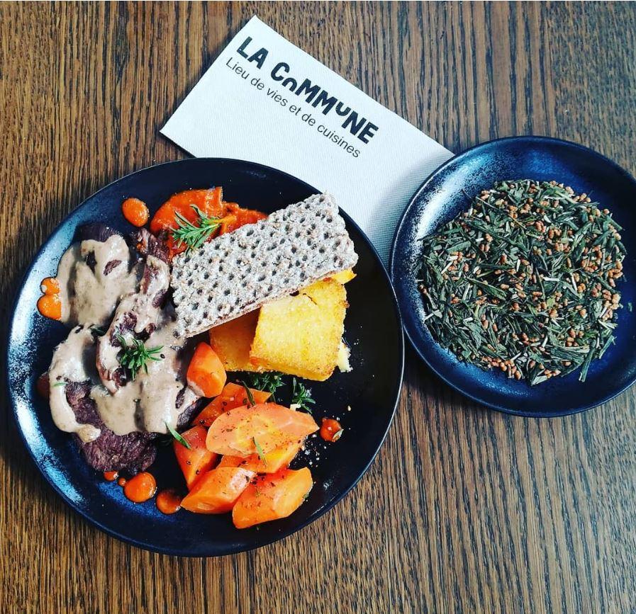 Plat accord mets et thé de l'athelier_lyon (Onglet de veau cuit basse température, sauce au thé genmaicha, carottes vichy et polenta rôtie).