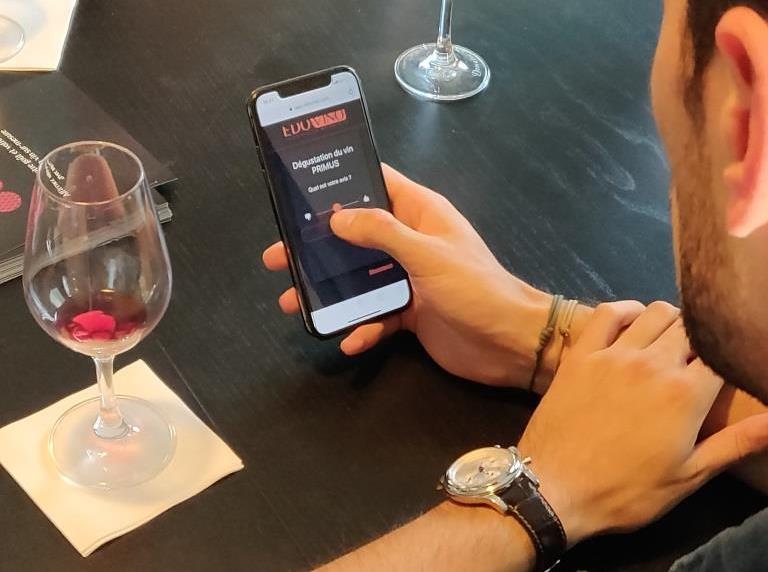 Application d'Edovino pour mesure le goût autour du vin